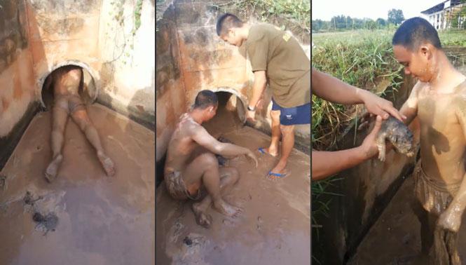 Homem entra em tubulação de esgoto para resgatar cãezinhos filhotes