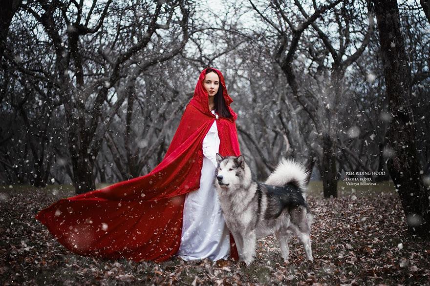 Fotógrafa Russa capta fotos de contos de fadas com animais de verdade (1)