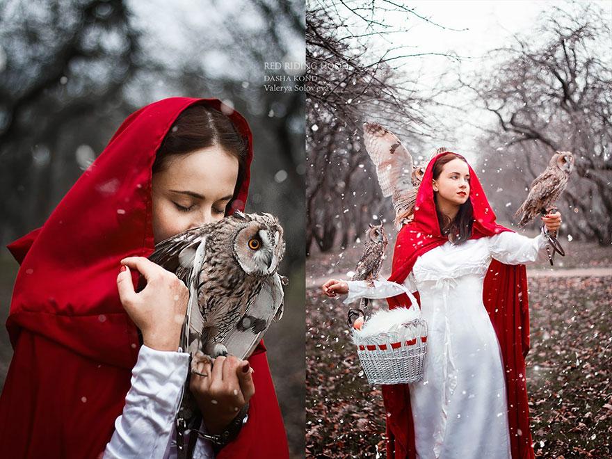 Fotógrafa Russa capta fotos de contos de fadas com animais de verdade (2)