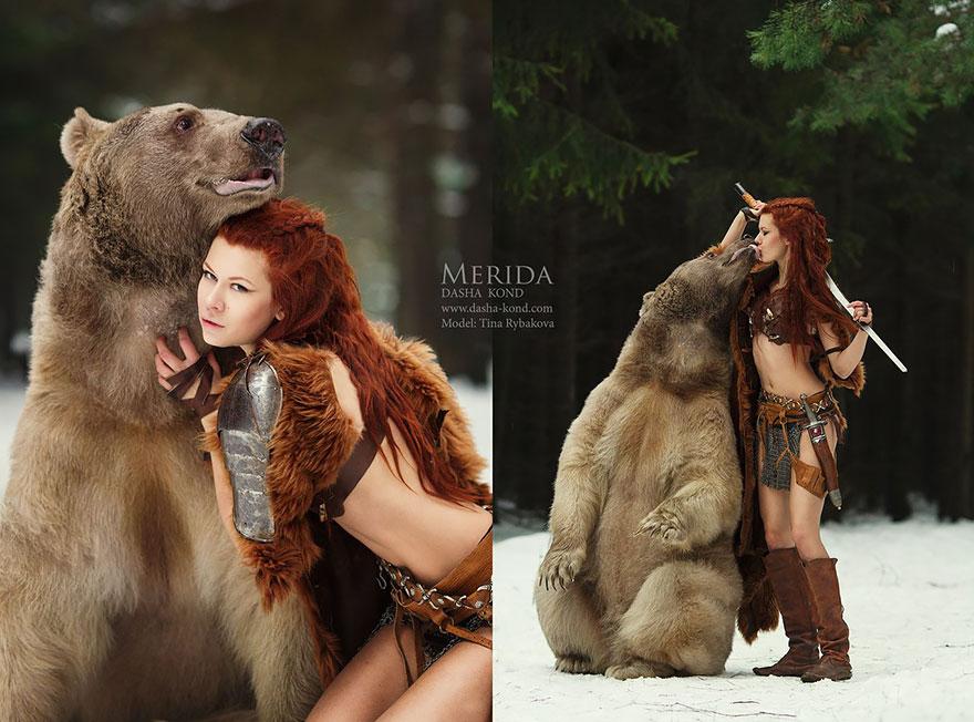 Fotógrafa Russa capta fotos de contos de fadas com animais de verdade (5)