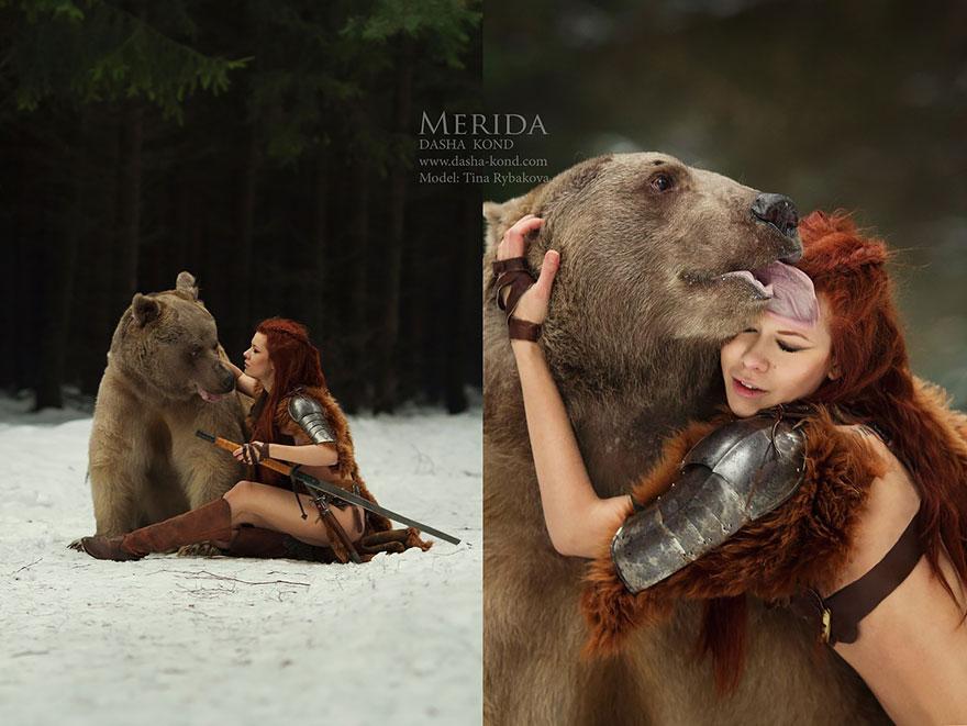 Fotógrafa Russa capta fotos de contos de fadas com animais de verdade (6)
