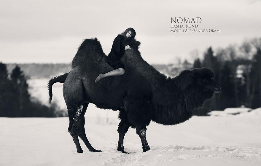 Fotógrafa Russa capta fotos de contos de fadas com animais de verdade (7)