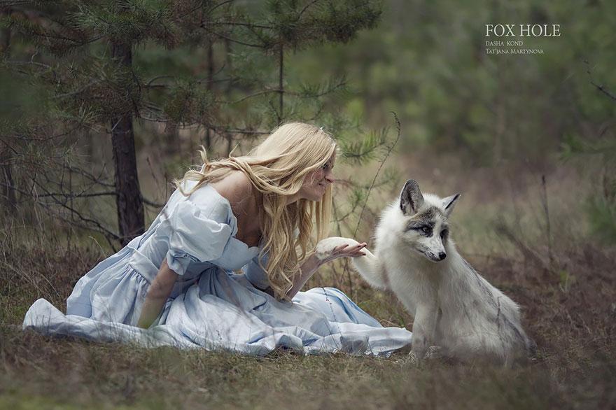 Fotógrafa Russa capta fotos de contos de fadas com animais de verdade (8)