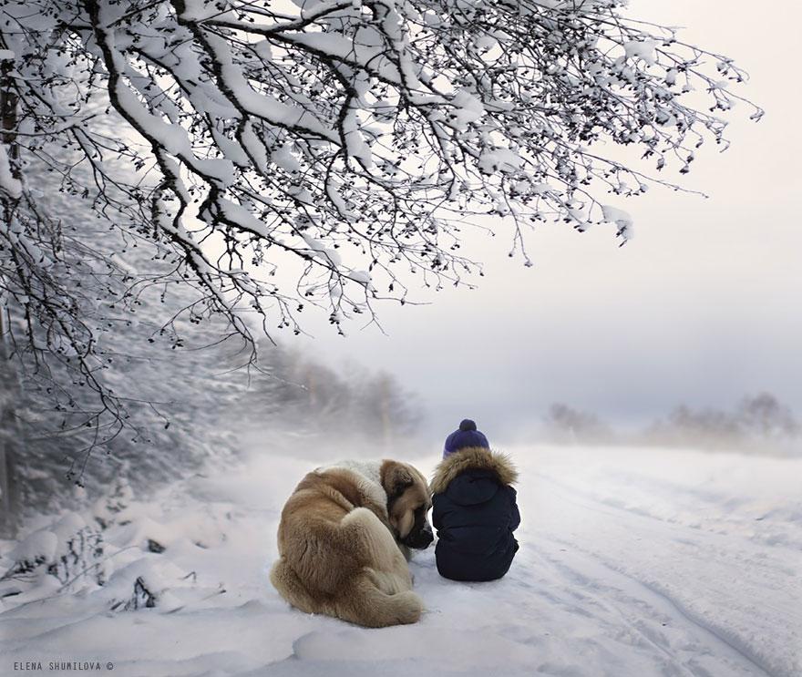 Mãe russa tira incríveis fotos de animais com seus filhos (6)
